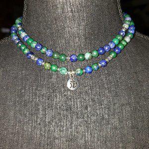 Azurite-Malichite Beaded necklace with Ohm charm.